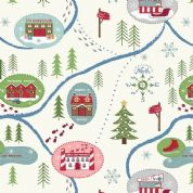 Lewis & Irene North Pole - 5499 - Pine Woods Scenic Print on White  - C13.1 - Cotton Fabric